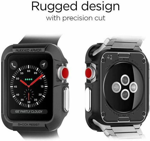 Apple Watch 3 2 1 (42mm) Case, Spigen Rugged Armor Protective Cover - Black