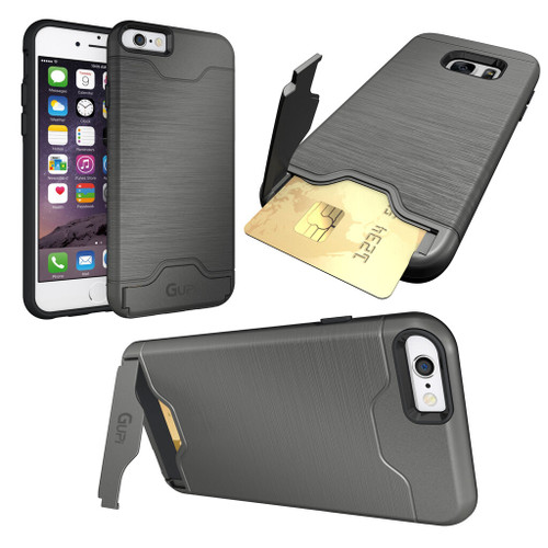 iPhone 7 Plus Gunmetal Protective Armour Hard Phone Case Cover with Hidden Card holder & Media Stand