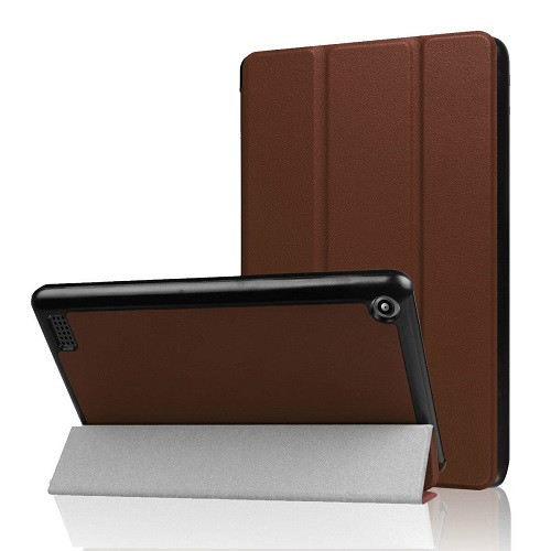 Amazon Kindle Fire HD 10  7th Gen Brown Magnetic Slim Leather Smart Case