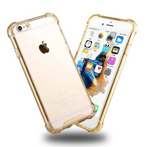 Transparent Clear Gold Hard Back Case for Apple Iphone 8 Plus