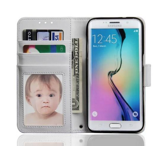 White Luxury Wallet Case for Samsung S7  Plus