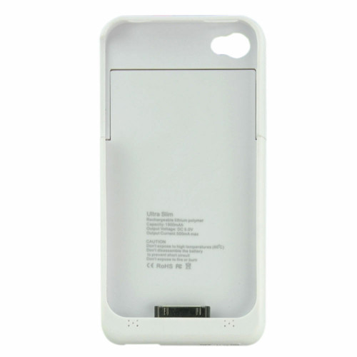 White Portable External Power Pack Backup Battery Charger Case For iPhone 4 / 4S