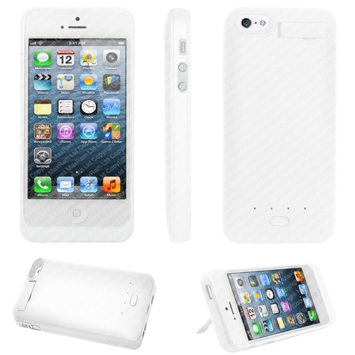 White Portable External Power Pack Backup Battery Charger Case For iPhone 5 5G