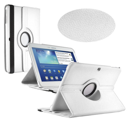 White PU Leather 360 Rotating Case for Samsung Galaxy Tab 3 10.1 (P5200/P5210)