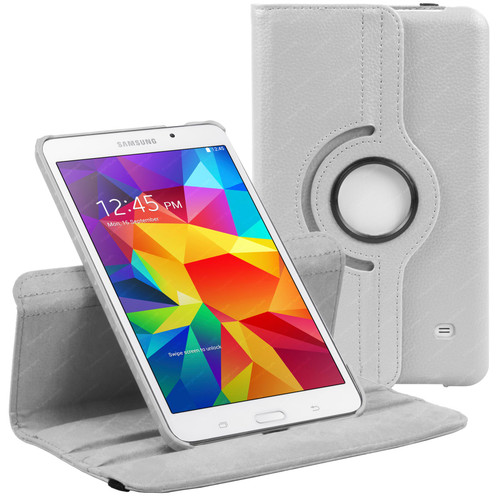 White PU Leather 360 Rotating Case for Samsung Galaxy Tab 4 8.0 (T330/T331/T335)