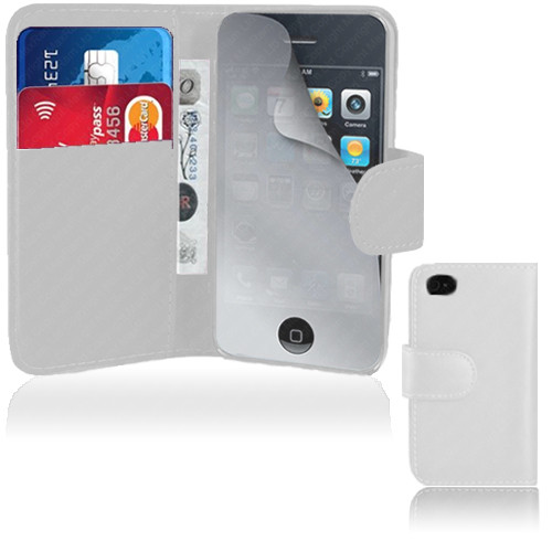 White PU Leather Wallet with Card Holder for iPhone 5