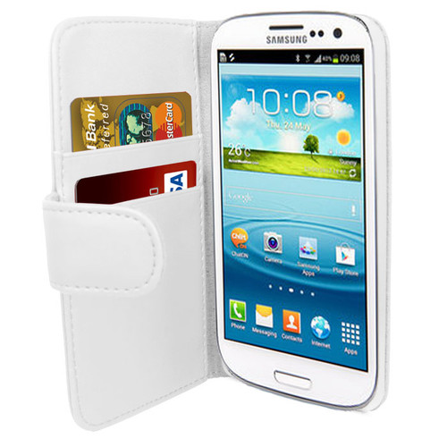 White PU Leather Wallet with Card Holder for Samsung Galaxy S3