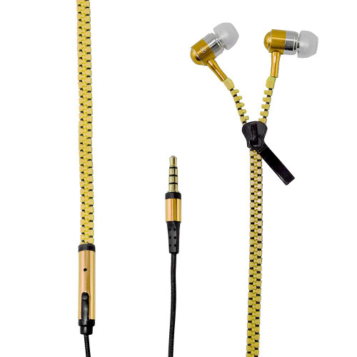 Yellow Stereo Zipper Earphone 3.5mm in Ear Wired Earbuds