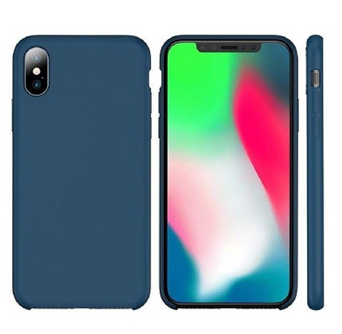 Apple I Phone X  Rubber Matte Shockproof  Liquid Silicon Ocean Blue Case