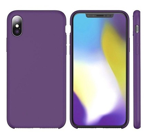 Apple I Phone  X Rubber Matte Shockproof  Liquid Silicon Purple Case