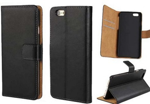 Apple iPhones Genuine Leather Wallet Flip/Stand Case in Black