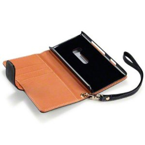 Nokia Lumia 900 Wallet Leather Case in Black