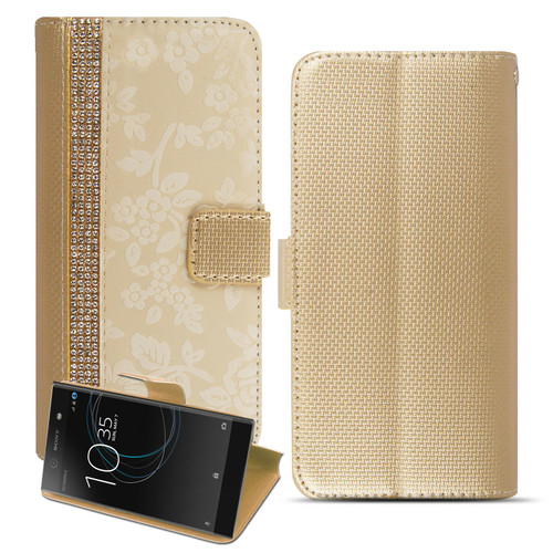 Copy of Sony Xperia L3 Bling Glitter Magnetic Flip Leather Gold Case