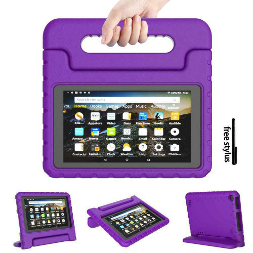 Kindle fire HD 8(2018)(2017)7th 8th Generation Kids Purple Builder Shockproof Eva Foam With Alexa Stand Case