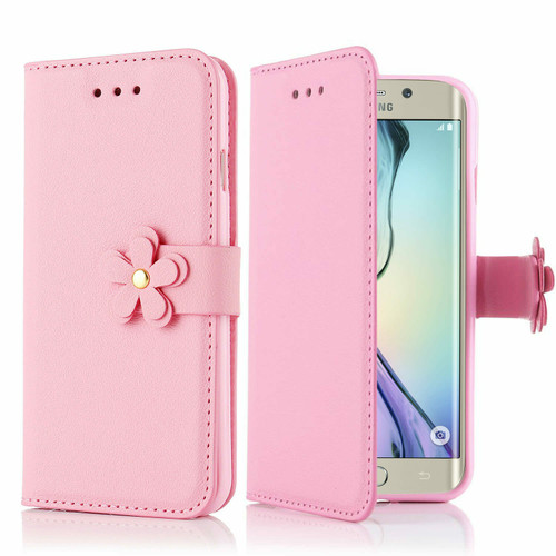 Samsung Galaxy Luxury Magnetic Stand PU Leather Flip Pink Case