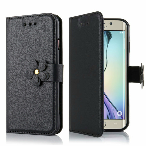 Samsung Galaxy Luxury Magnetic Stand PU Leather Flip Black Case