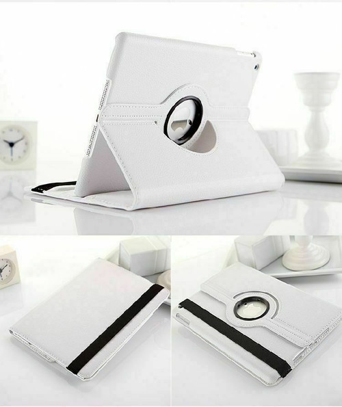 White PU Leather 360 Rotating Case for iPad Air / iPad 5