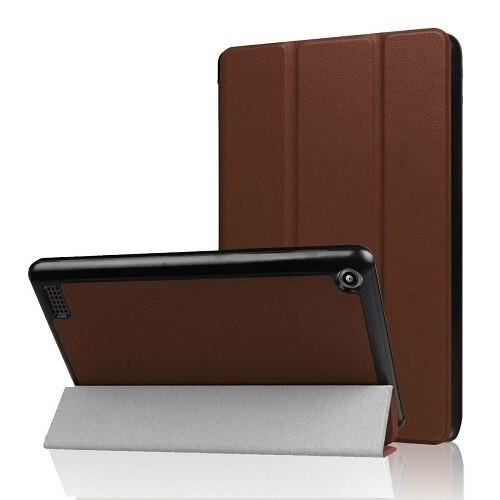 Amazon Kindle Fire HD 8(2018) Gen Brown Magnetic Slim Leather Smart Case