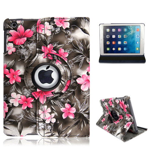 iPad  9.7(2018) Pink Flower on dark Grey Smart Stand Leather Magnetic Case