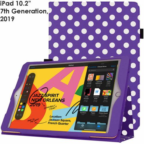 Apple iPad 10.2 (7th Generation) 2019 Purple Polka Smart  Stand Cover