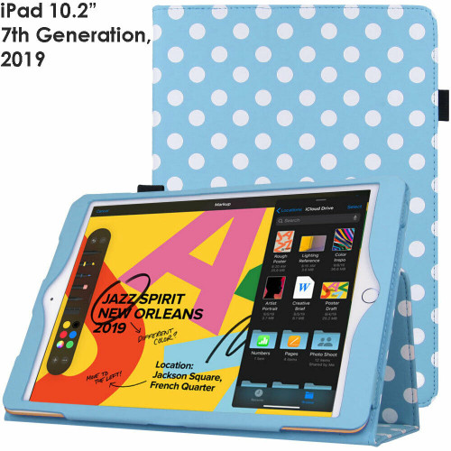 Apple iPad 10.2 (7th Generation) 2019 Blue Polka Smart  Stand Cover