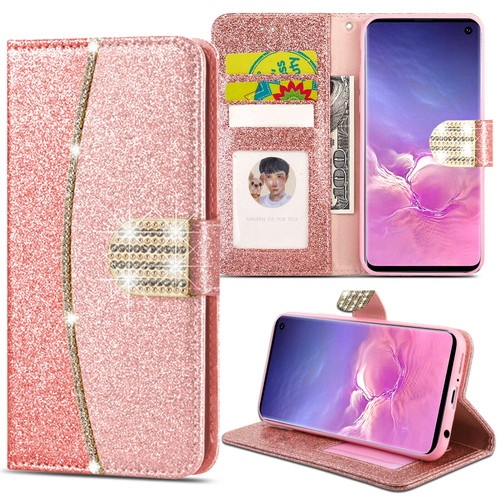 Samsung Galaxy  S10  Smart Rose Gold Luxury Glitter Leather Flip Wallet case