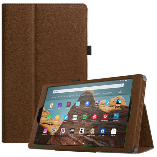 Amazon Fire 7 2019 9th Gen Brown Leather Smart Stand Book Flip  Cover