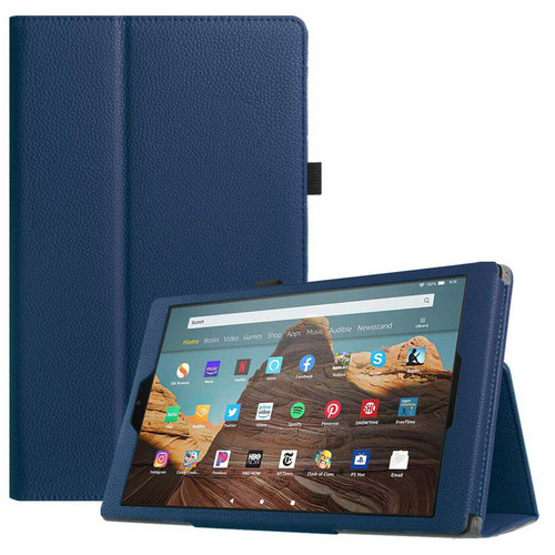 Amazon Fire 7 2019 9th Gen Navy Blue Leather Smart Stand Book Flip  Cover
