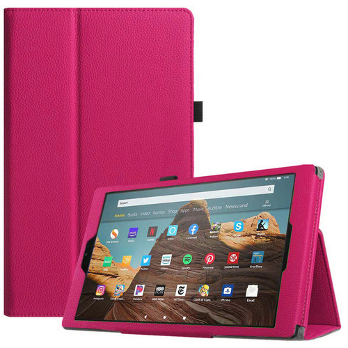 Amazon Fire 7 2019 9th Gen Pink Leather Smart Stand Book Flip  Cover