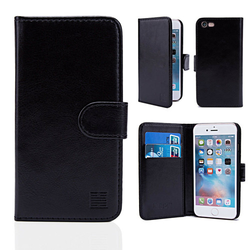 iPhone4/4s Black Leather Wallet Case