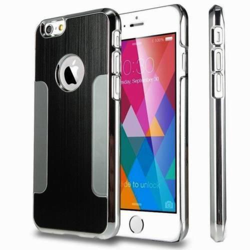 Apple iPhone4/4s Black Luxury Brushed Aluminium Chrome Hard Case