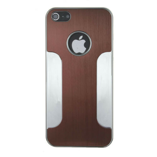 Apple iPhone4/4s Brown Luxury Brushed Aluminium Chrome Hard Case