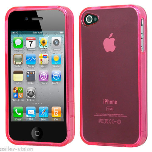 Apple Iphone 4/4s Light Pink Rubber Hard Gel Skin Transparent Case