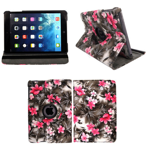 Apple iPad Pro 11'' 360° Rotating Stand Case Folding Leather  Pink flower dark Grey case