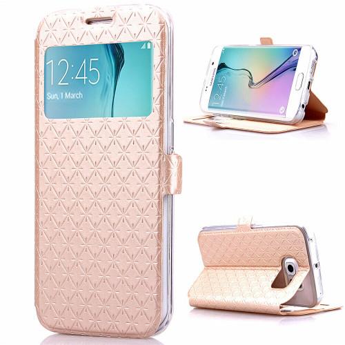 Samsung Galaxy  S7 Edge Ultra-Thin  Window ViewPU Leather gold case