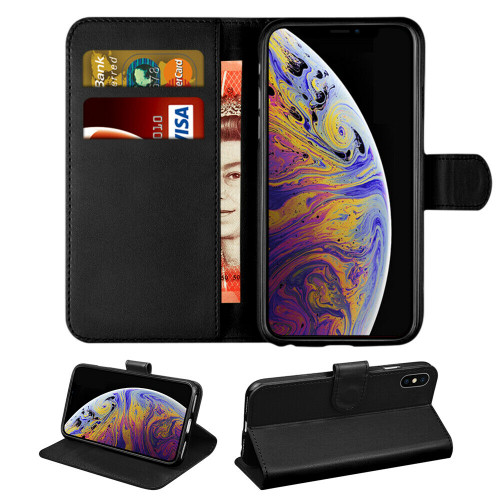 Apple iPhone  11 Black Real Genuine Leather Flip Wallet  Cover