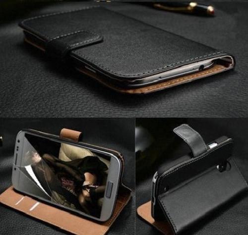 Samsung Galaxy S7 Edge Black Genuine Leather Wallet Case