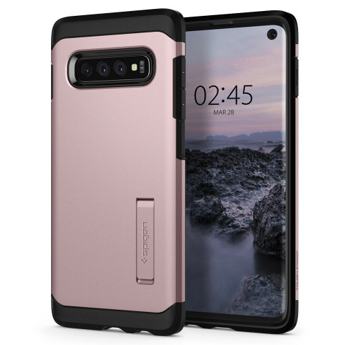 For Galaxy S10 Case, Spigen Tough Armor Extreme Shockproof Protective rose gold Cover