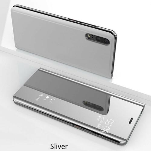 Silver Samsung Note 10 Smart View Mirror Flip Stand Case