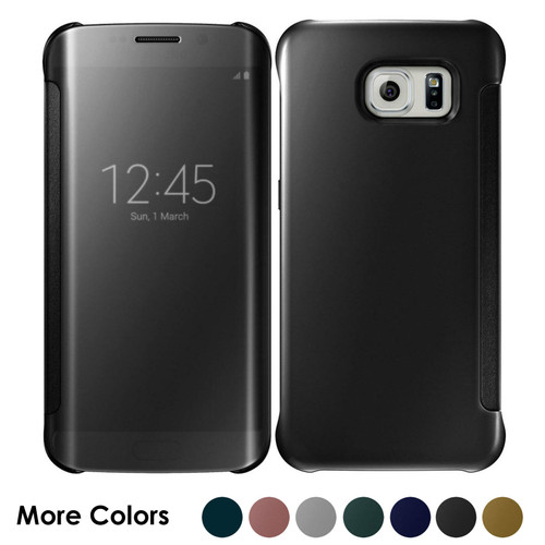 Samsung Galaxy S7 Edge Mirror Smart View Clear Flip Phone Cover - Black