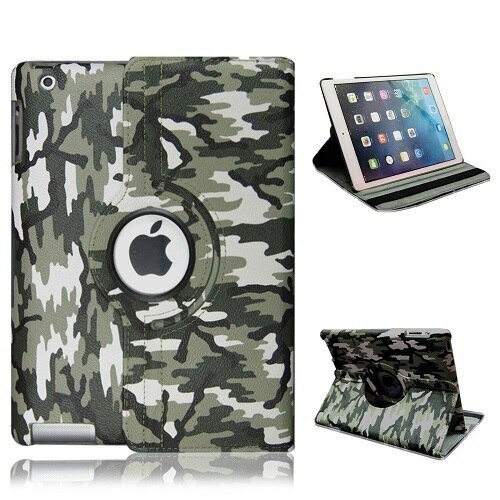 Green Camouflage PU Leather 360 Rotating Case for iPad Air 3 2019