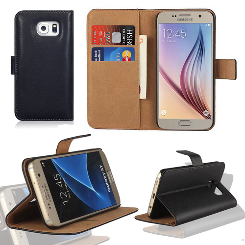 Black Samsung Galaxy S6  Luxury Leather Flip Wallet Cover