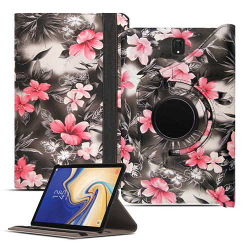 Pink flower on Dark Grey PU Leather 360 Rotating Case for Samsung Galaxy Tab 4 7.0 (T230/T231/T235)