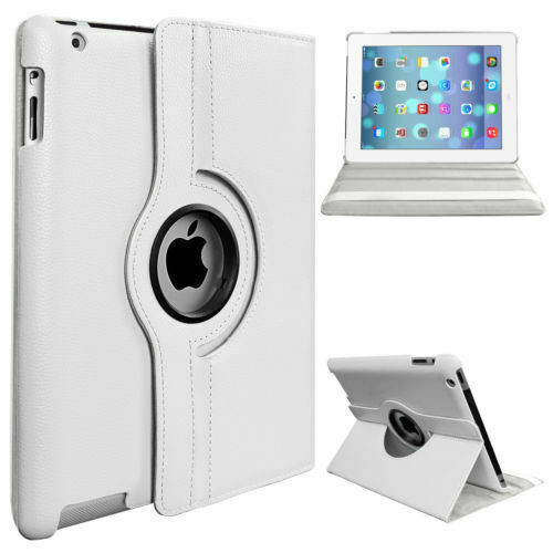 White PU Leather 360 Rotating Case for iPad Air 2(2014)