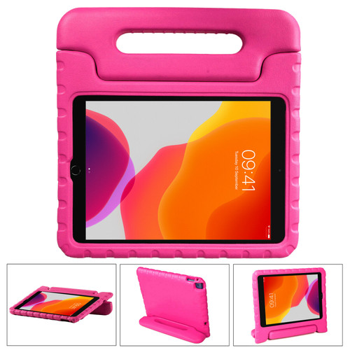 Apple iPad 10.2 (7th Generation) 2019 Pink Kid Shockproof Handle Stand Case