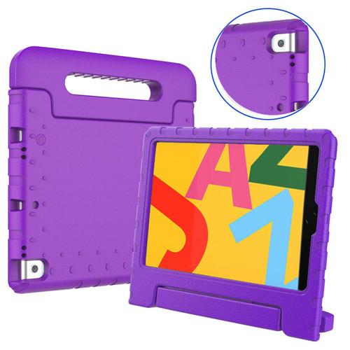 Apple iPad 10.2 (7th Generation) 2019 purple Kid Shockproof Handle Stand Case