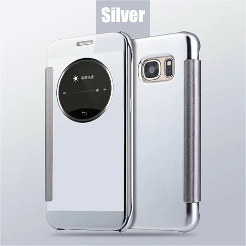 Luxury Leather Smart View Mirror Flip Case Cover For Samsung Galaxy S6  silver