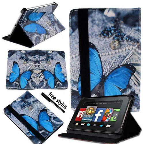 Amazon kindle Fire HD 8 (2018)  Blue Butterfly Magnetic Smart Leather Case