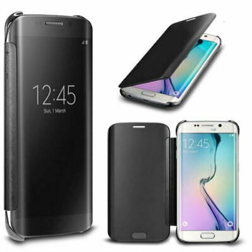 Samsung Galaxy S7 Mirror Wallet Case Cover Black