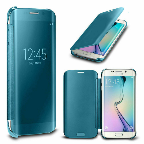 Samsung Galaxy S7 Mirror Wallet Case Cover Light Blue